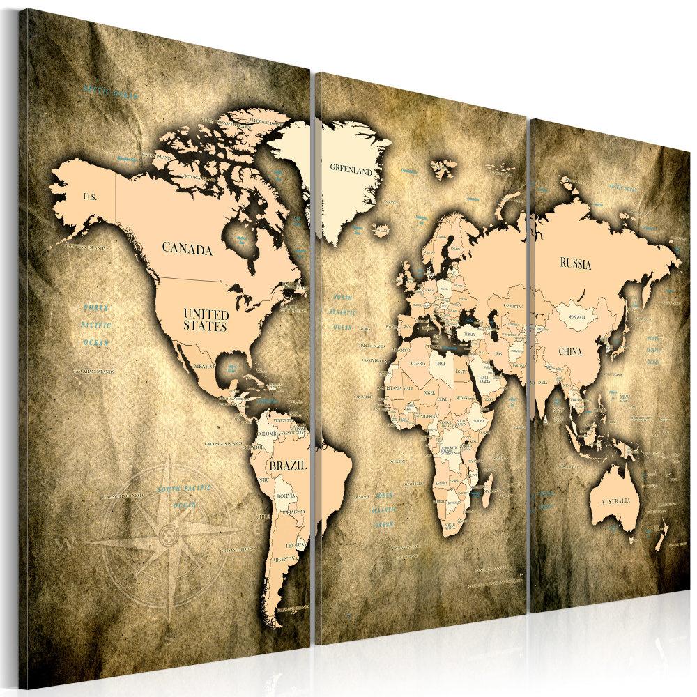 Schilderij - Wereldkaart , Zanderige Wereld , 3 luik