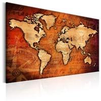 Schilderij - Wereldkaart , Amberkleurige Wereld