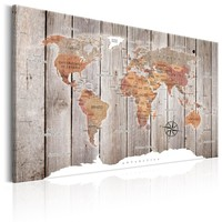 Schilderij - Wereldkaart , Verhalen van hout , Houtlook