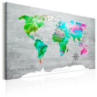 Schilderij - Wereldkaart , Groen Paradijs