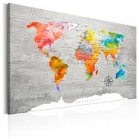 Schilderij - Wereldkaart , Multigekleurde landen