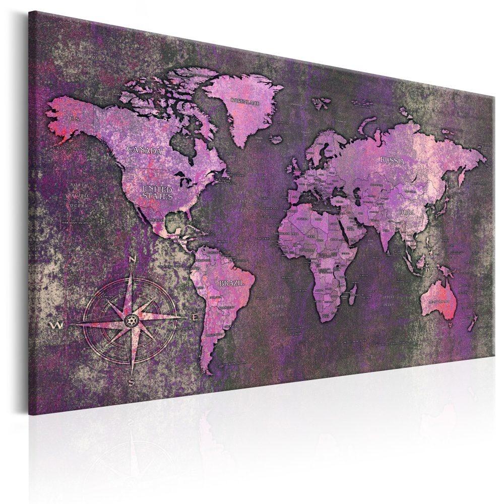 Schilderij - Wereldkaart , Violette Wereld
