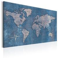 Schilderij - Wereldkaart , Blauwe Planeet