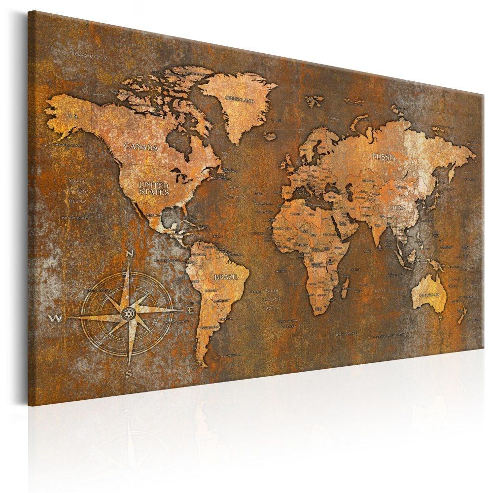 Schilderij - Wereldkaart , Roestige Wereld