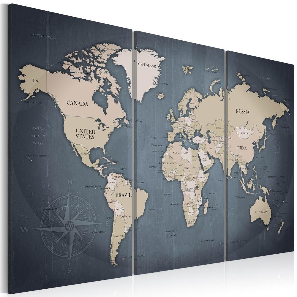 Schilderij - Wereldkaart , Anthraciet Wereld , 3 luik