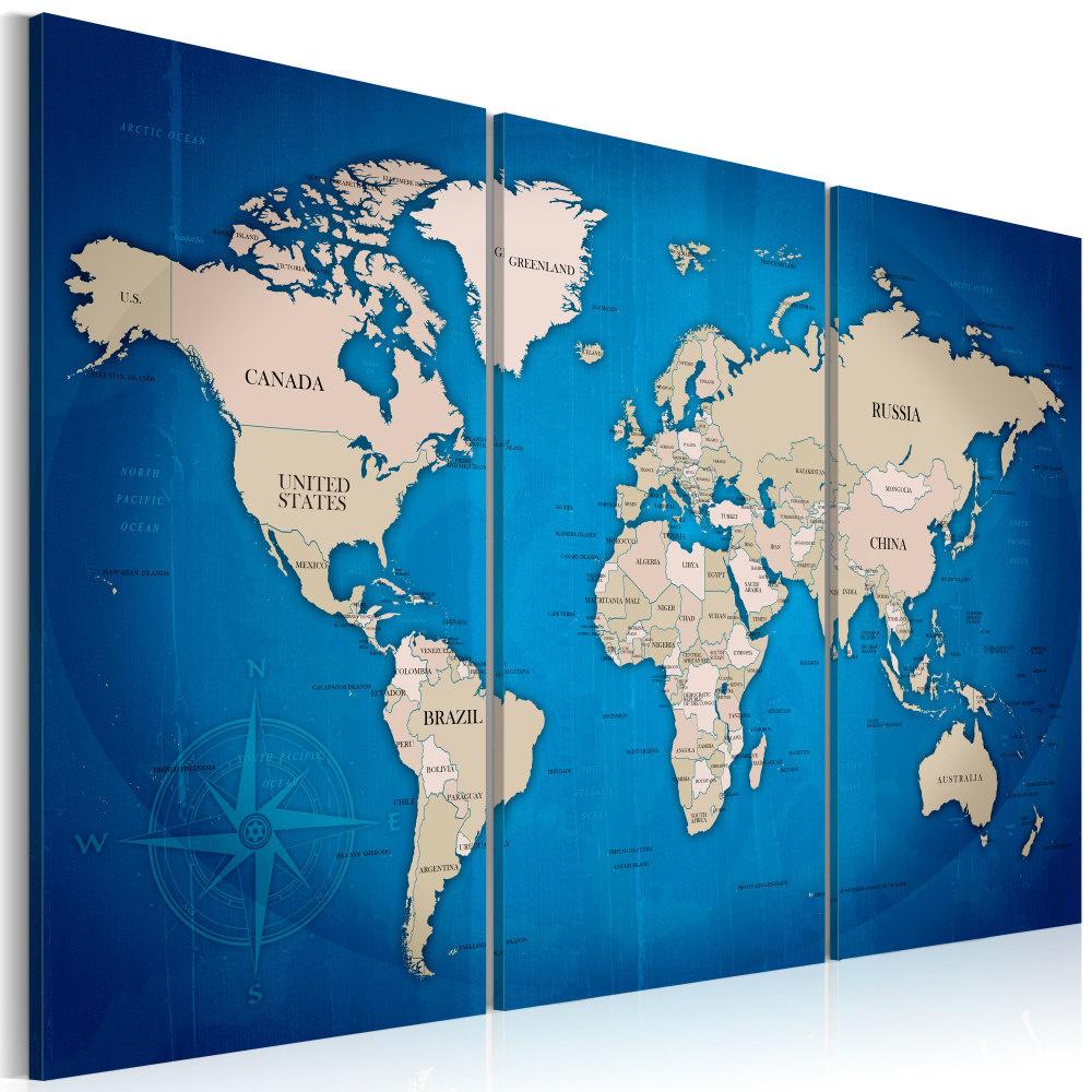 Schilderij - Wereldkaart , Inktkleurige Reis , 3 luik