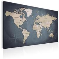 Schilderij - Wereldkaart , Schaduwen van Grijs