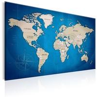 Schilderij - Wereldkaart , Blauwe Trajecten