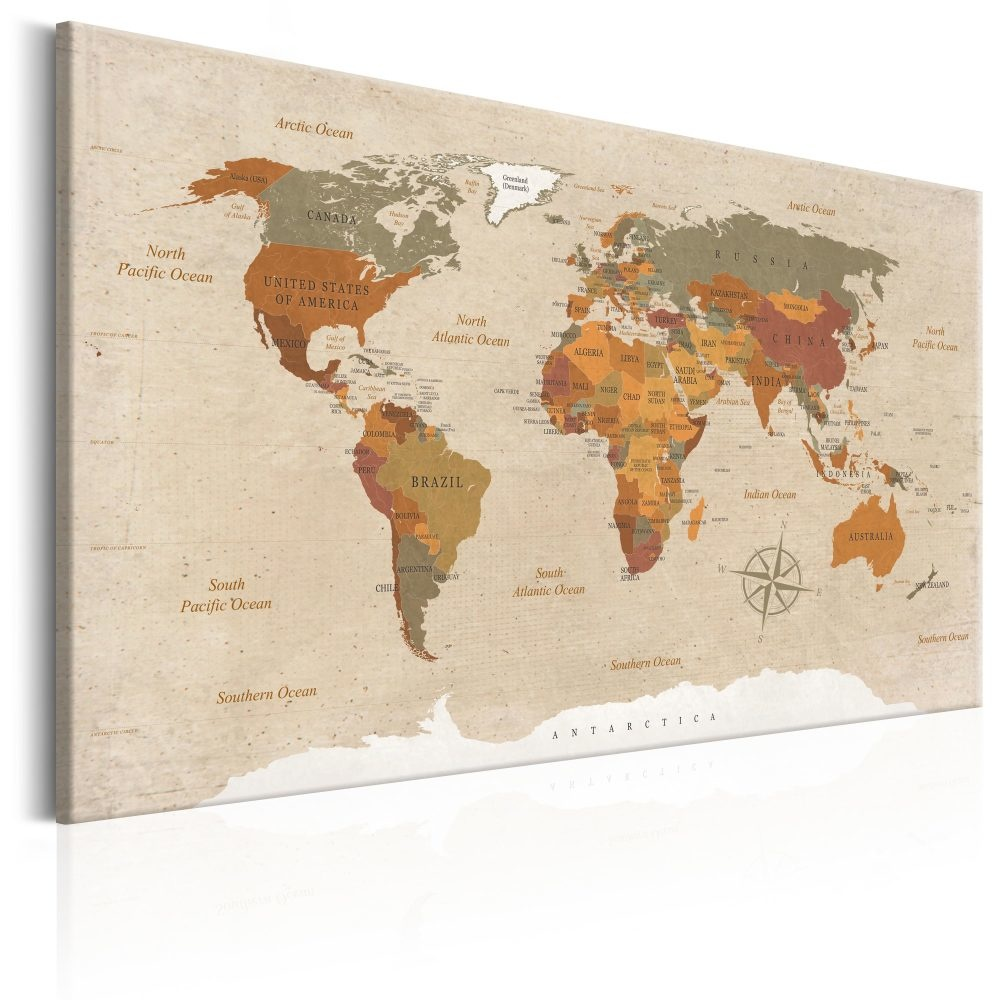 Schilderij - Wereldkaart , Chique Beige