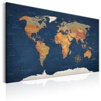 Schilderij - Wereldkaart , Oceanen van Inkt