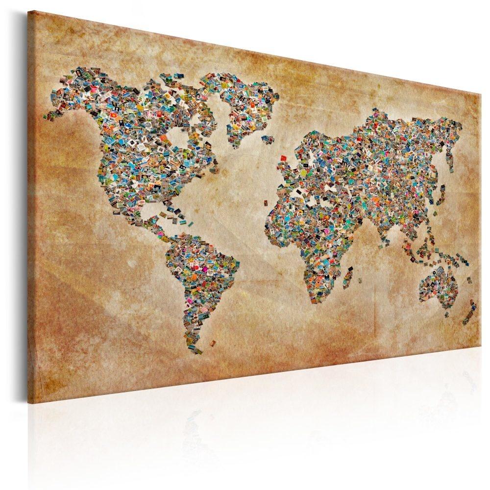 Schilderij -Wereldkaart , Briefkaarten van de Wereld