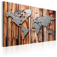 Schilderij - Wereldkaart , Grenzen van Moderniteit , Houtlook
