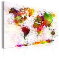 Schilderij - Wereldkaart , Artistieke Wereld