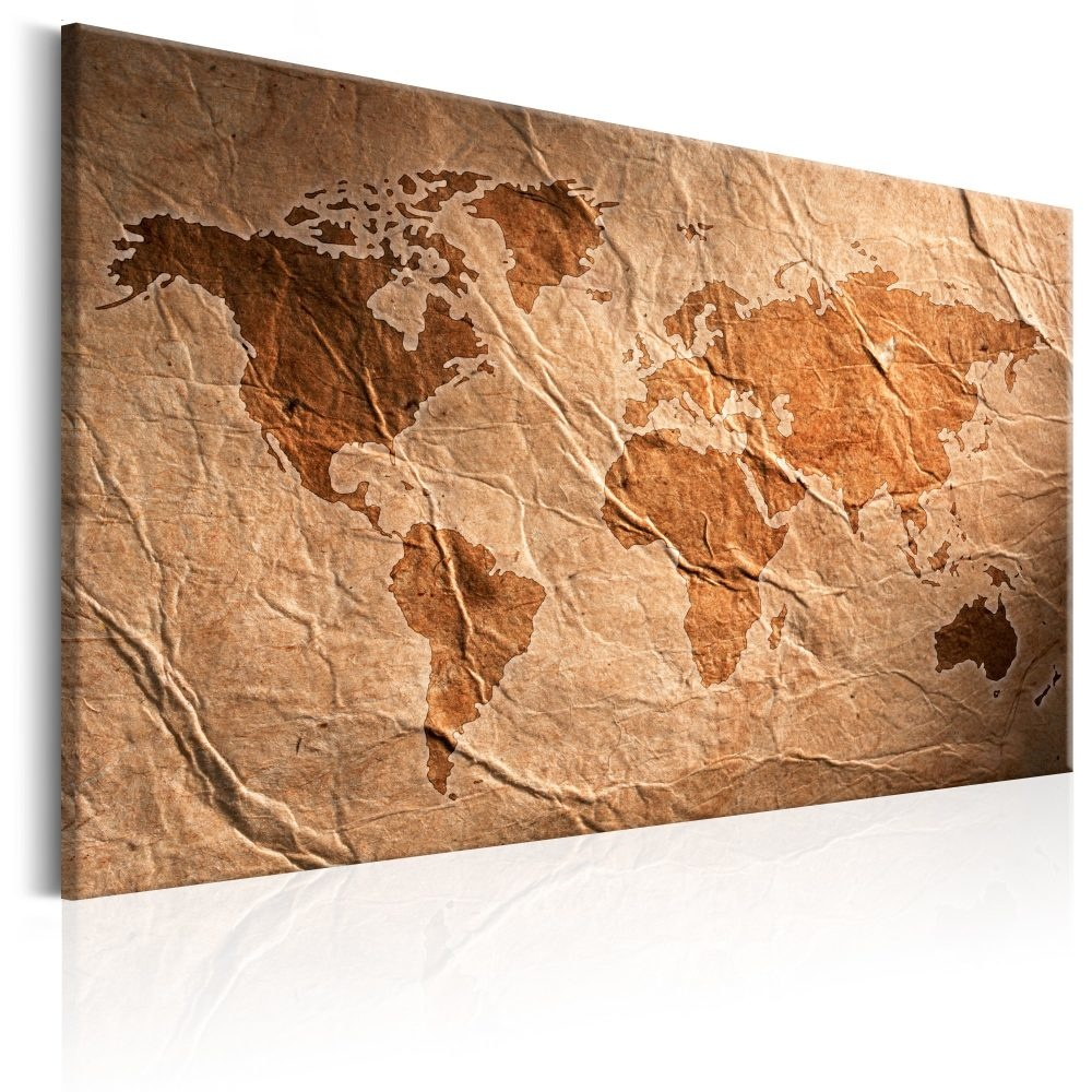 Schilderij - Papieren Wereldkaart