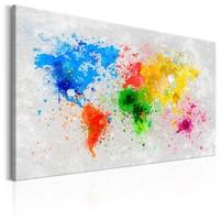 Schilderij - Wereldkaart , Expressionisme van de Wereld