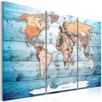 Schilderij - Wereldkaart , Blauwe Reizen , 3 luik