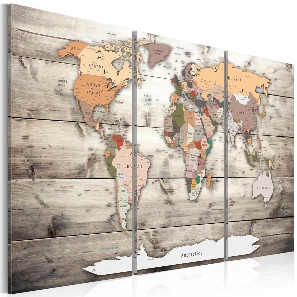 Schilderij - Wereldkaart , Reis historie , 3 luik