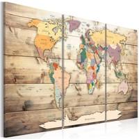 Schilderij - Wereldkaart , Kaart van Dromen , Houtlook , 3 luik