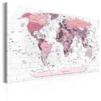 Schilderij - Wereldkaart , Roze grenzen