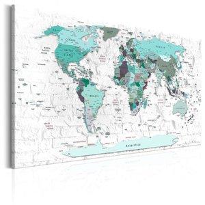 Schilderij -  Wereldkaart , Hemelsblauwe landen