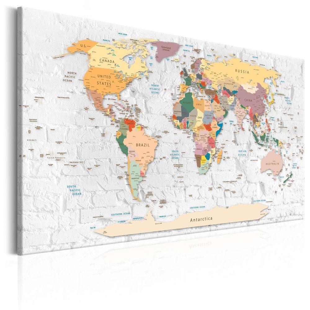 Schilderij - Wereldkaart , kleurrijke landen