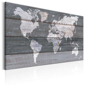 Schilderij - Wereldkaart , Grijze Wereld
