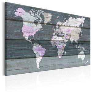 Schilderij -  Wereldkaart , Zwervend over de wereld