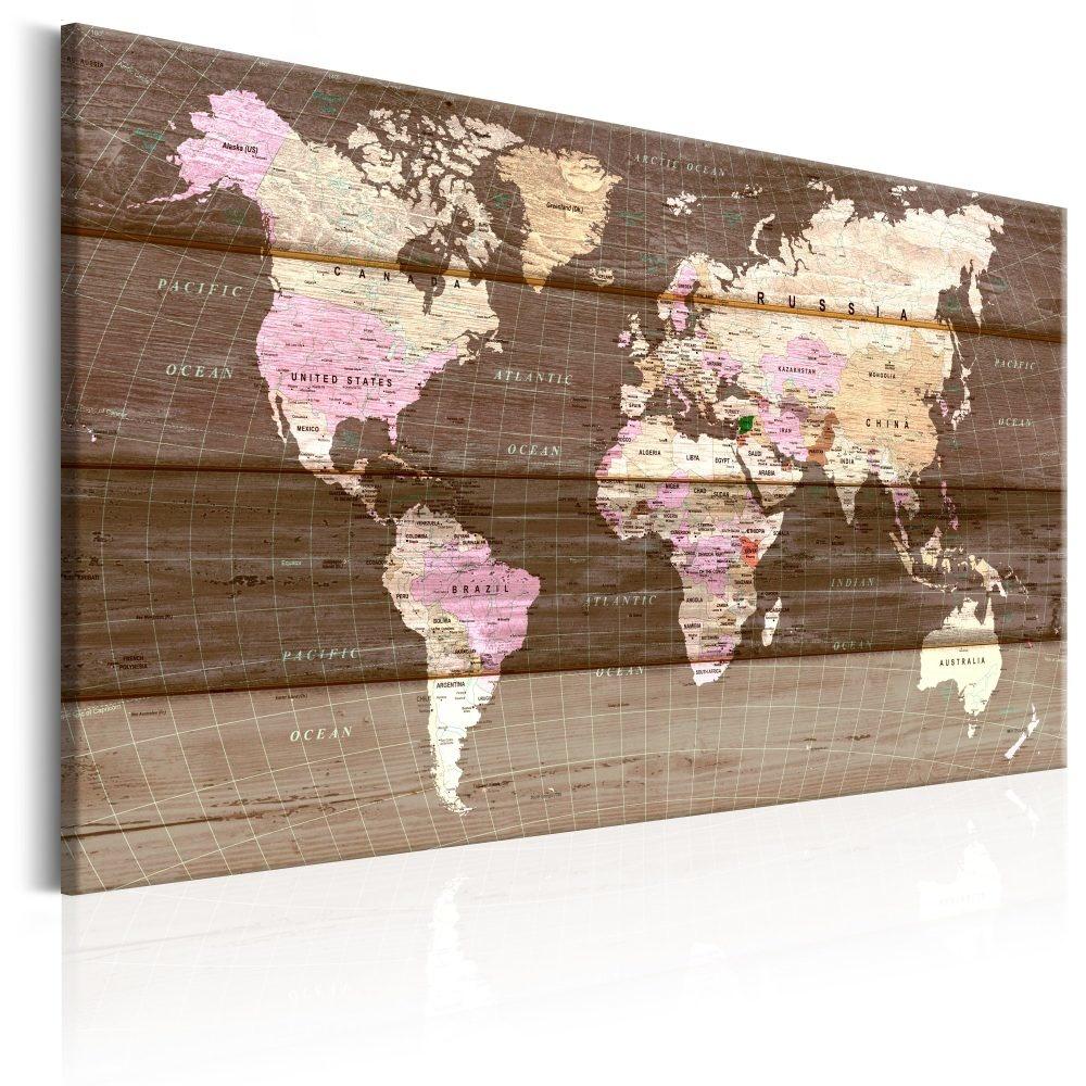 Schilderij - Wereld op hout , houtlook