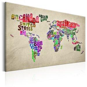 Schilderij - Wereldkaart , Wereldreis in kleur