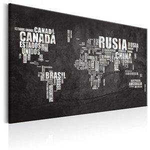 Schilderij - Wereldkaart : Spaanse Geografie