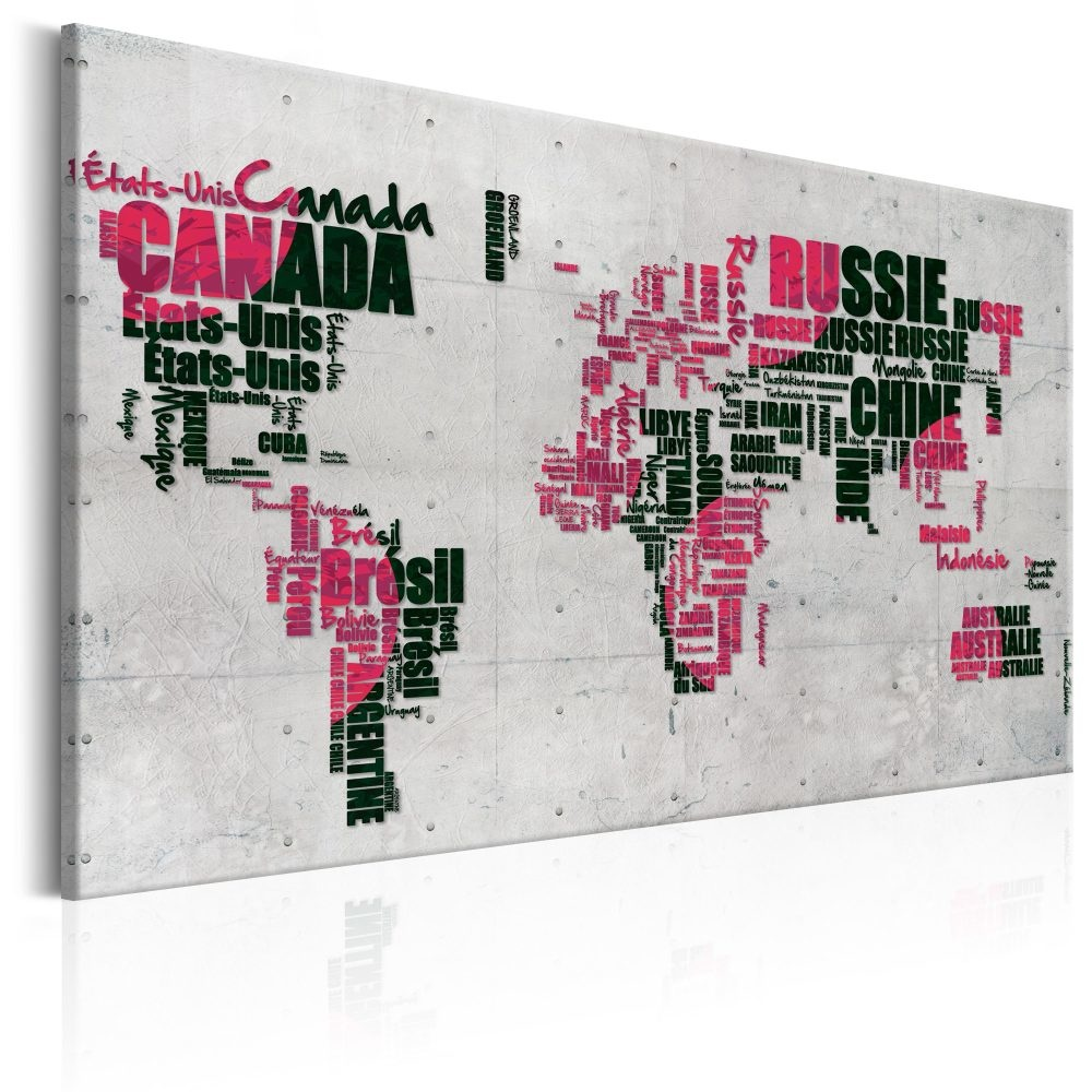 Schilderij - Wereldkaart : The French Connection , Frans