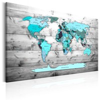 Schilderij - Wereldkaart , Blauwe wereld , houtlook