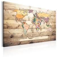 Schilderij - Wereldkaart , Kleurrijke continenten , houtlook