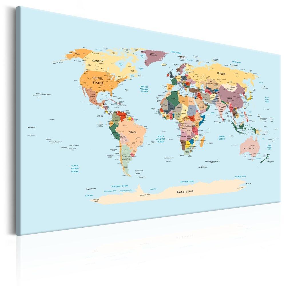 Schilderij - Wereldkaart , Reis met me mee.