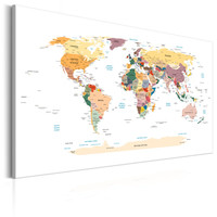 Schilderij - Wereldkaart , Reis rond de Wereld