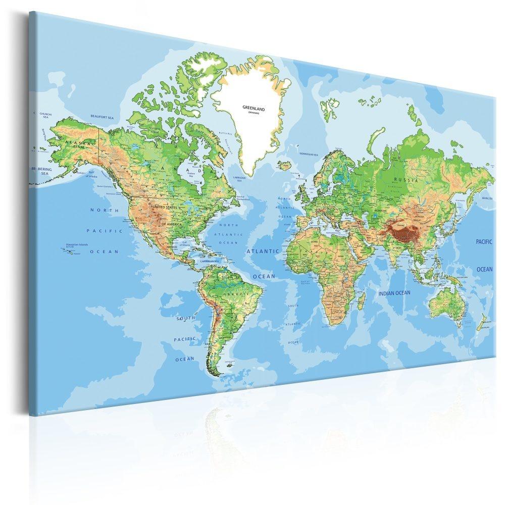 Schilderij - Ontdek de wereld , wereldkaart