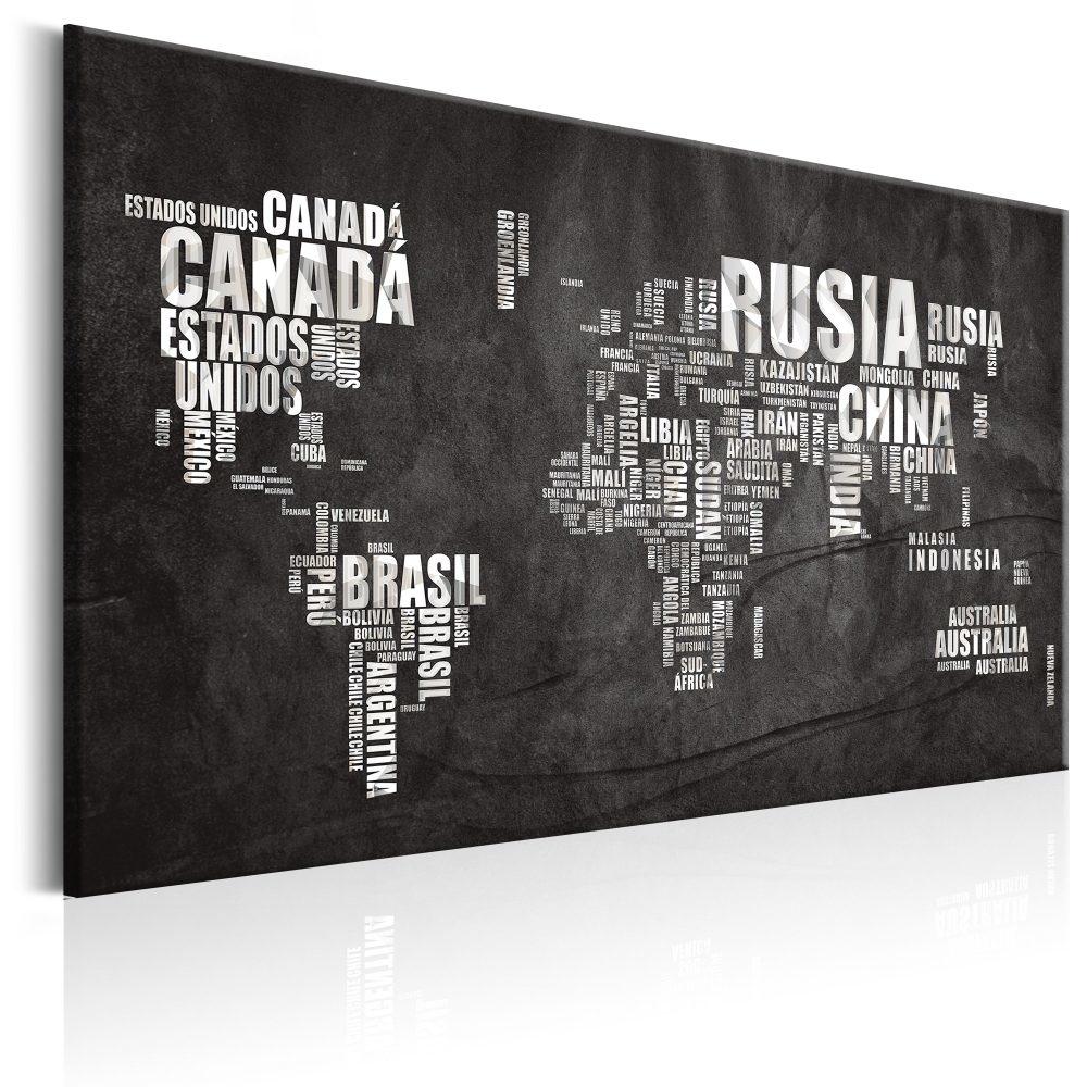 Schilderij - Wereldkaart , zwarte wereld met witte landnamen