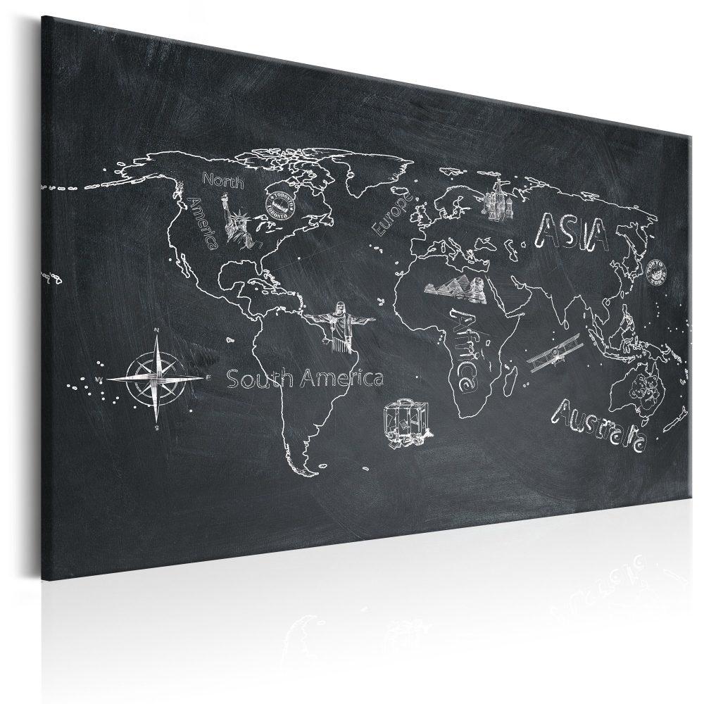 Schilderij - Wereldkaart , Reizen verruimt de geest