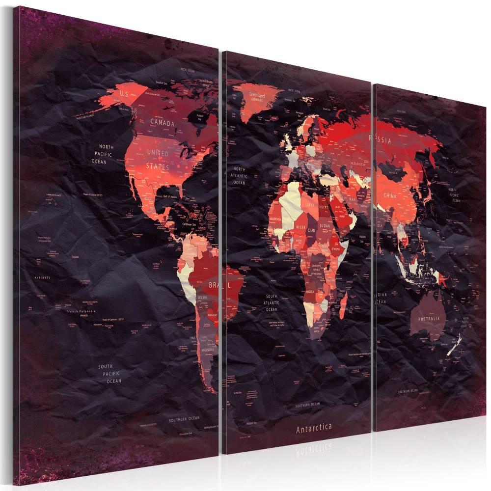 Schilderij - Wereldkaart in bruin tinten , 3 luik