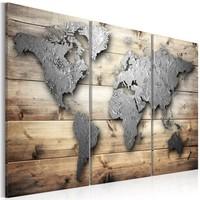 Schilderij - Metalen wereld op hout , 3 luik , houtlook