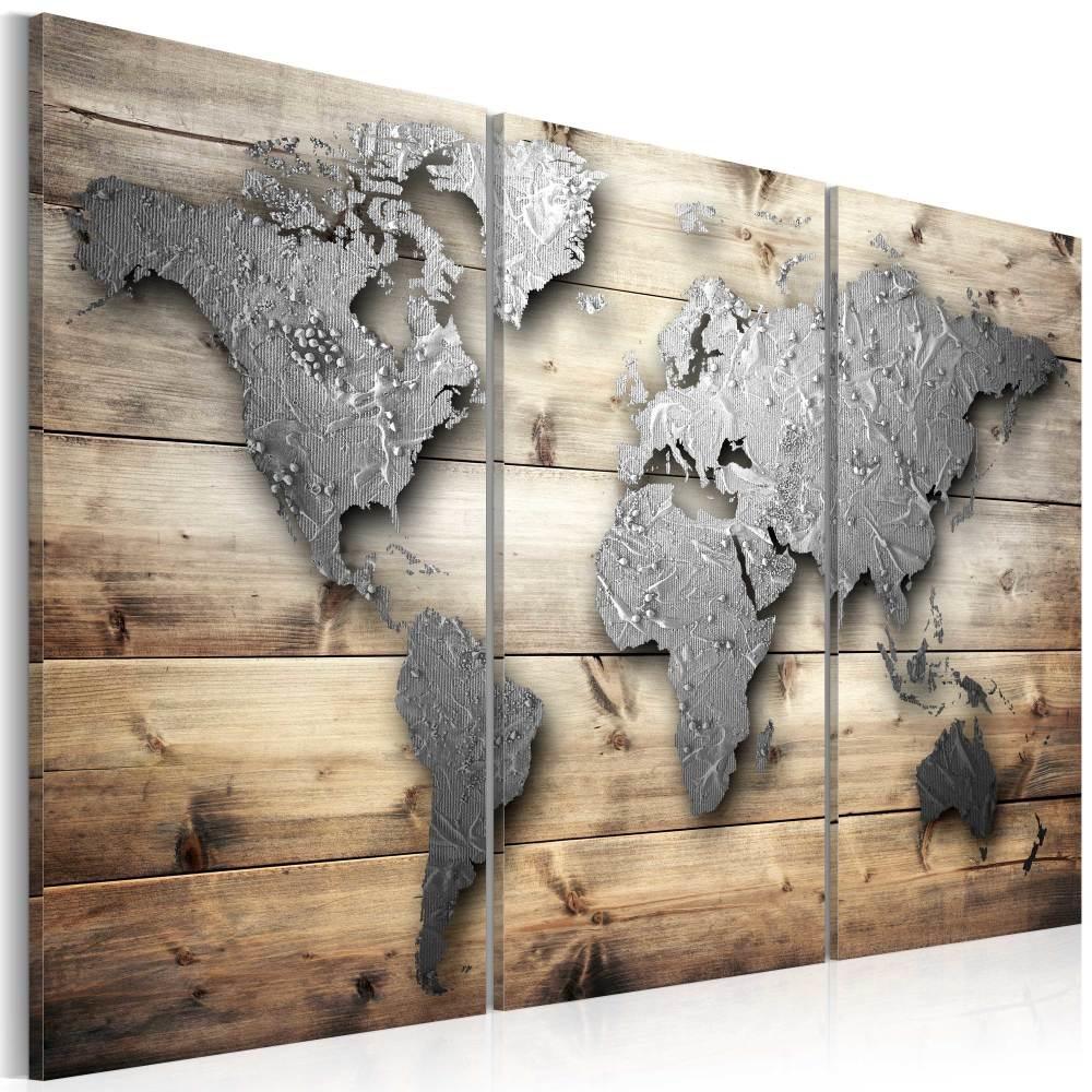 Schilderij - Zilveren wereld , 3 luik , print op canvas en dus geen 3D