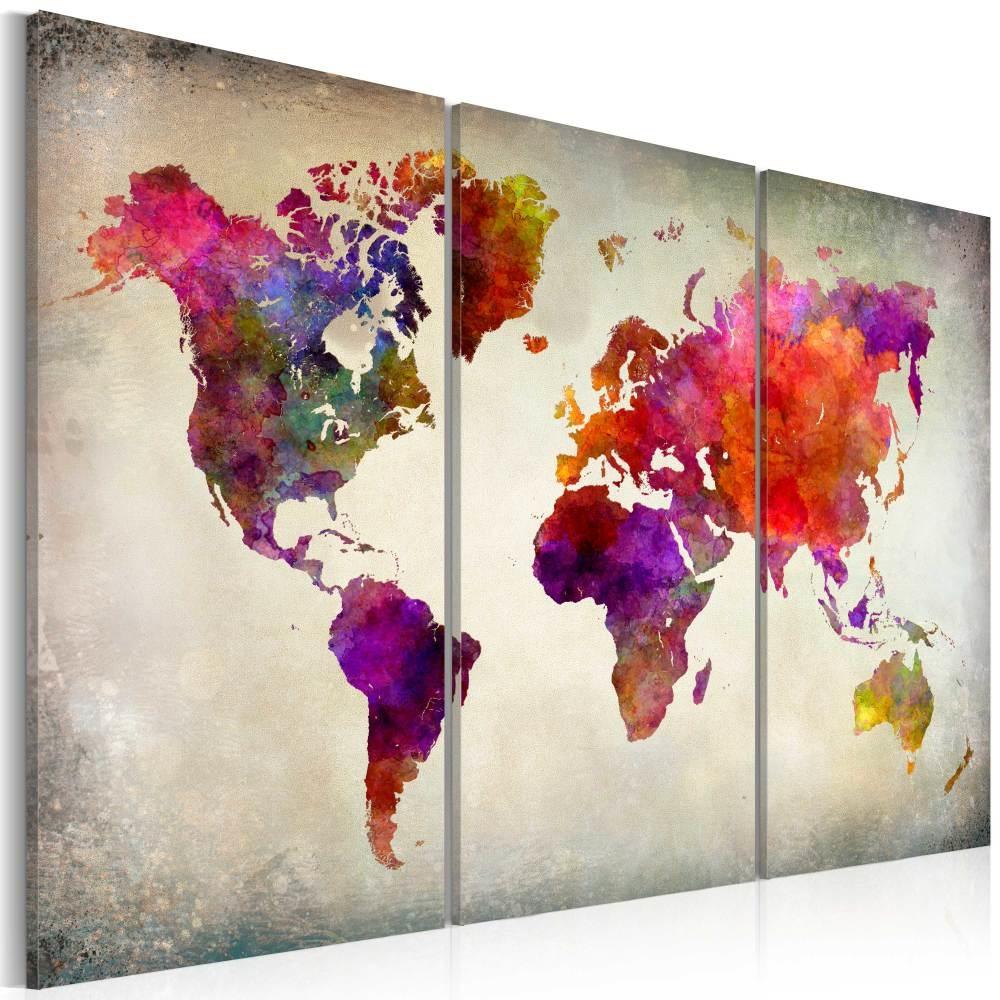 Schilderij - Moza�ek van Kleuren , Wereldkaart , 3 luik