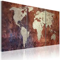 Schilderij - Wereldkaart , Koperlook , 3 luik
