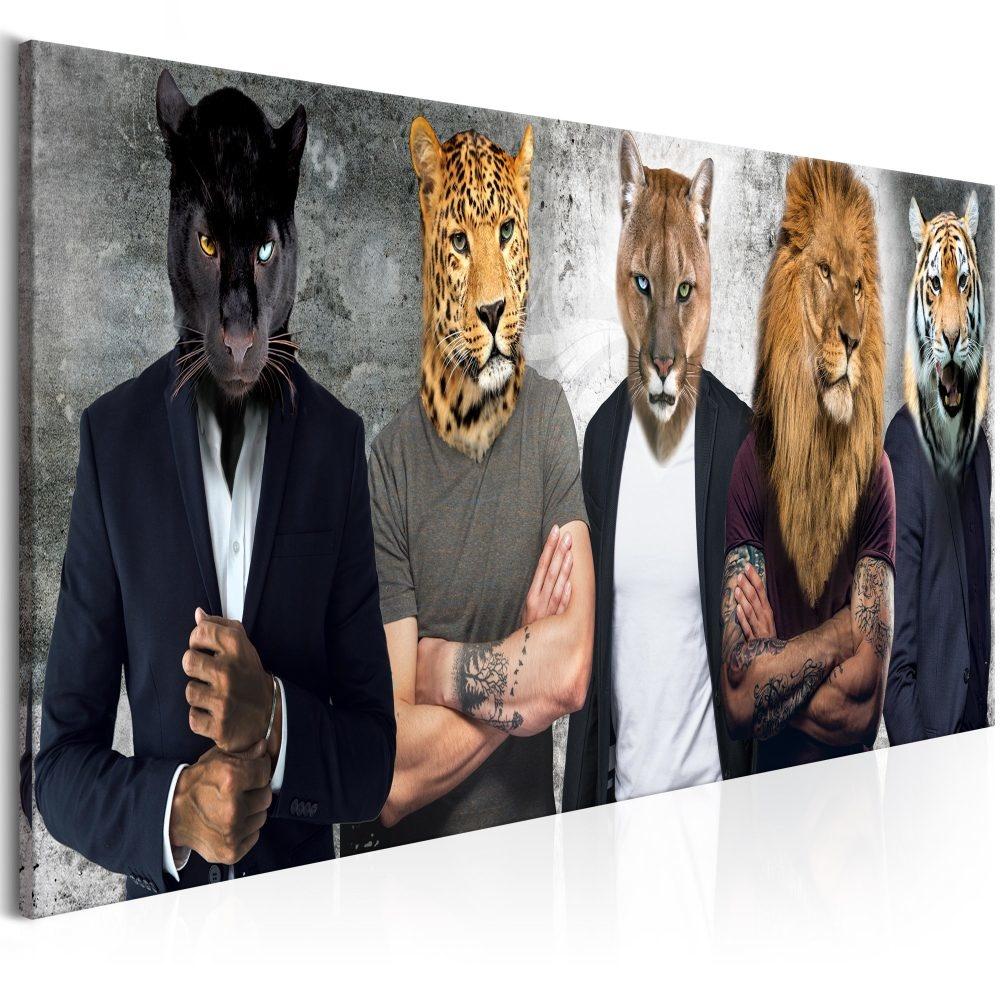 Schilderij - Mannen met wilde dierenhoofden ,