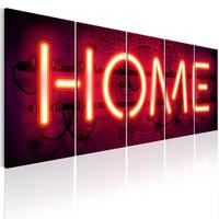 Schilderij - Home Neon , 5 luik , Neonlook