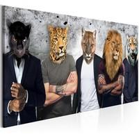 Schilderij - Mannen met wilde dieren hoofden