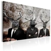 Schilderij - Mannen met Hertenhoofden