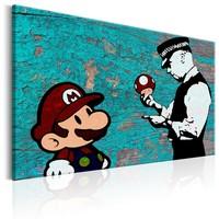Schilderij - Mario en Politieagent op hout , Banksy , houtlook