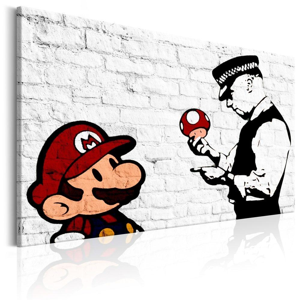 Schilderij - Mario en Politieagent op baksteen , Banksy , baksteenlook