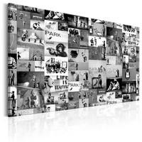 Schilderij - Banksy: Graffiti Collage , zwart wit